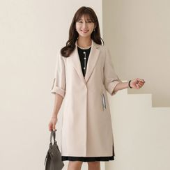 CLICK - Tab-Sleeve Slit-Side Wrap Coat With Keyring