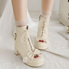 Lolita Tree - 繫帶粗跟短靴