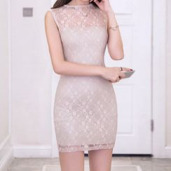 Fashion Street - Lace Sleeveless Mini Sheath Dress