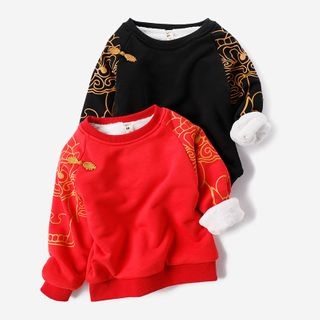 Happy Go Lucky - Kids Printed-Sleeve Pullover