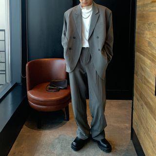 CATCOOL - Set: Striped Blazer + Wide-Leg Dress Pants