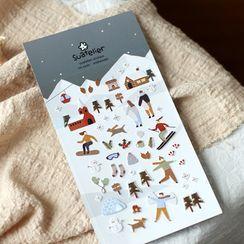 Homey House - 滑雪卡通贴纸