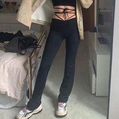 RoseRocker - Tie-Waist Boot-Cut Pants