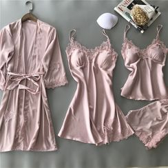 Almilo - Pajama Set: Crochet Trim Pajama Dress + Tie-Waist Robe + Camisole + Shorts