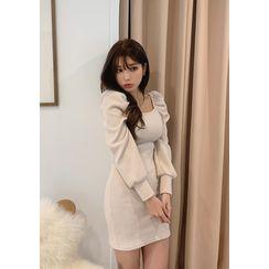 chuu - Rib-Knit Mini Bodycon Dress