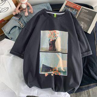 Wescosso  - Short-Sleeve Cat Print T-Shirt