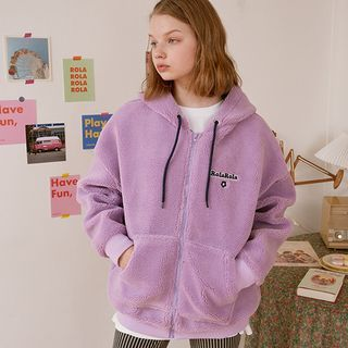 rolarola - Letter Faux-Shearling Zip-Up Hoodie