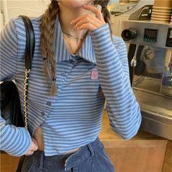 monroll - Long-Sleeve Button-Up Striped T-Shirt