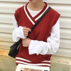 CosmoCorner - V-Neck Two-Tone Knit Vest