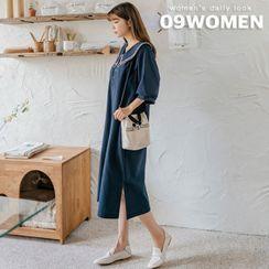 Seoul Fashion - PLUS SIZE Puff-Sleeve Long Sailor Dress