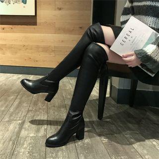 Vindler - Pointed Block Heel Over-The-Knee Boots