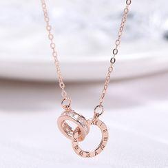 Typhon - 925 纯银 水钻罗马数字联扣圈环吊坠项链