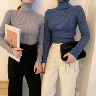 Alfie - Plain Turtle-Neck Long-Sleeve Slim-Fit Knit Top