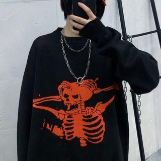 Shineon Studio - スカルプリント カラーブロック セーター
