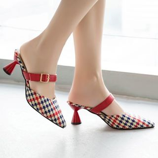 Weiya(ウェイヤ) - Pointed Kitten Heel Mules
