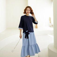 Lemite - 3/4-Sleeve Tie-Waist Color-Block Dress