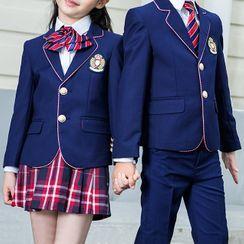 Snow Castle - Kids Contrast Trim Blazer / Dress Pants / Shirt / Vest / Skirt / Bow Tie / Set