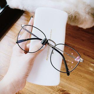 MOL Girl - ブルーライト遮断四角フレームメタルメガネ