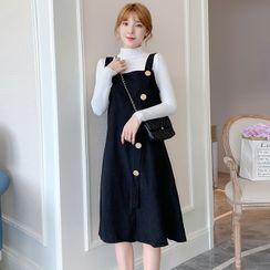 Gypso - Maternity Long-Sleeve Knit Top / Midi A-Line Overall Dress / Set