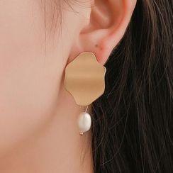 Mulyork - Irregular Alloy Disc Faux Pearl Dangle Earring