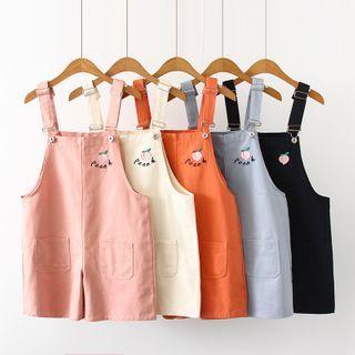 TOJI - 蜜桃刺繡背帶短褲