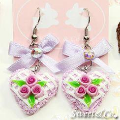 Sweet & Co. - Mini Purple Rose Cake Earrings