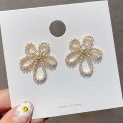 True Glam - Faux Pearl Flower Earring