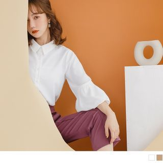 OrangeBear - 纯色柔滑排釦泡泡袖长袖衬衫上衣