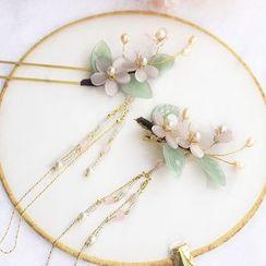 Rivermoon - 仿珍珠花朵流苏发夹 / 发簪 / 套装