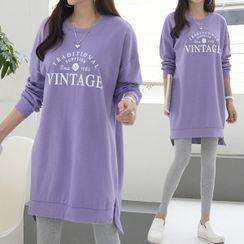 Seoul Fashion - 'VINTAGE' Letter Sweatshirt Dress