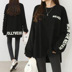 Seoul Fashion - Dip-Back Letter Print T-Shirt