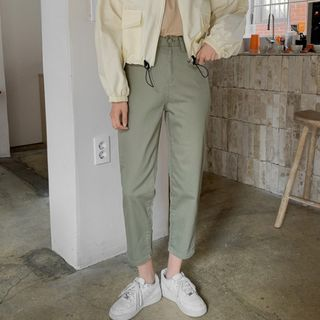 MERONGSHOP - High-Rise Tapered Pants