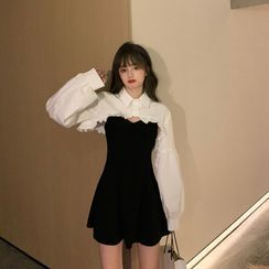 Tukiki - Long-Sleeve Cropped Shirt / Spaghetti Strap Mini A-Line Dress