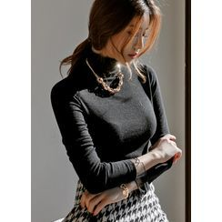 Styleonme - Turtle-Neck Tulle-Cuff Silky Top