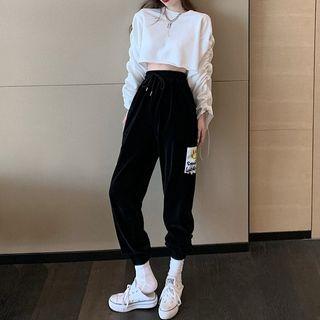 Emmeray - Long-Sleeve Cropped T-Shirt / Harem Sweatpants