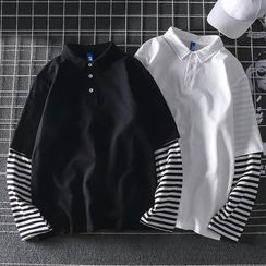 Dragondra - Striped Panel Polo Shirt