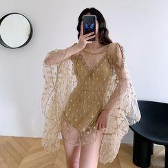 Aluli - Set: Lace Trim Swimsuit + Bell-Sleeve Cold-Shoulder Mesh Top