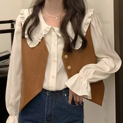 Magimomo - Ruffle Blouse / Single-Breasted Faux Leather Vest