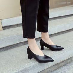 Megan - Faux Leather Slip-On Block Heel Pumps