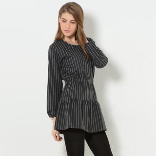 59 Seconds - Gathered-Waist Pinstripe Mini Dress
