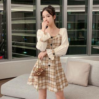 NENE - Long-Sleeve Paneled Mini A-Line Plaid Dress