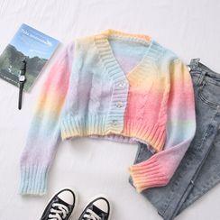 Babique - Rainbow-Gradient Cropped Cardigan