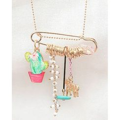 Miss21 Korea - Charm Safety-Pin Long Necklace