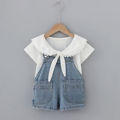 Mini Bae - Kids Set: Short-Sleeve Blouse + Denim Jumper Pants