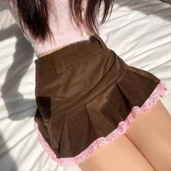 BrickBlack - Lace Trim Ruffled Corduroy Mini Skirt