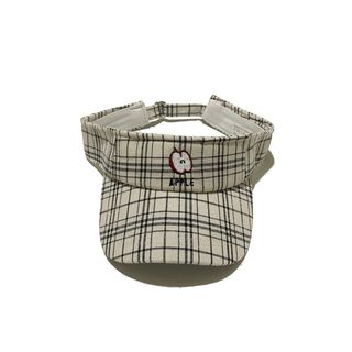 Heloi - Embroidered Plaid Visor Hat