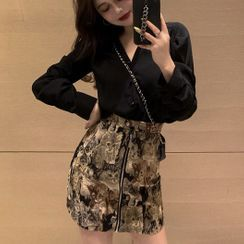 Golwheat - Set: Long-Sleeve Shirt + Cat Print Mini Fitted Skirt