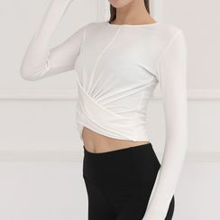 Mimamosa - Long-Sleeve Twist-Front Sports Top