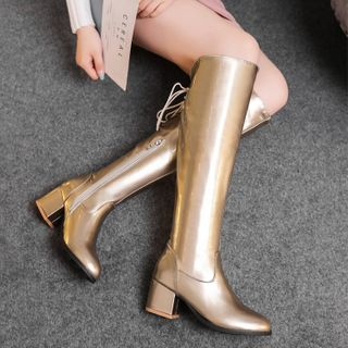 Kireina - Chunky Heel Zip-Up Tall Boots