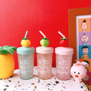 Yunikon - Fruit Plastic  Drinking Cup with Straw